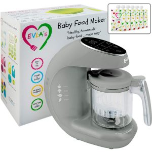 Baby Food Maker 2021 | Baby Food Processor Blender Grinder Steamer | Cooks & Blends Healthy Homemade Baby Food in Minutes | Self Cleans | Touch Screen Control | 6 Reusable Food Pouches
